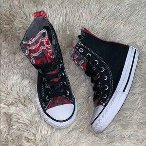 CONVERSE • Plaid Ruffle High Top Black Shoes 11